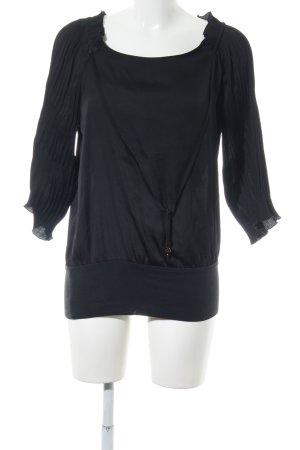 Zero Glanzende blouse zwart casual uitstraling