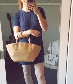 Zero Handtasche beige braun Henkel 3 Fächer Tasche