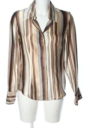 Zero Hemd-Bluse wollweiß-braun Streifenmuster Casual-Look