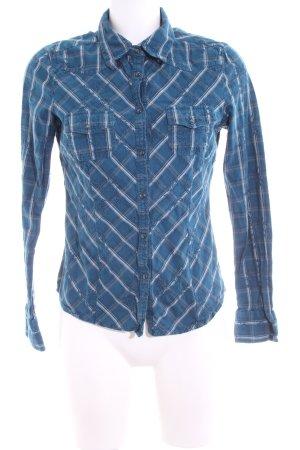 Zero Hemd-Bluse blau-weiß Karomuster Casual-Look