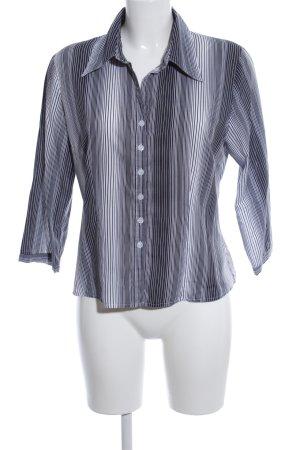 Zero Hemd-Bluse hellgrau-schwarz Streifenmuster Casual-Look