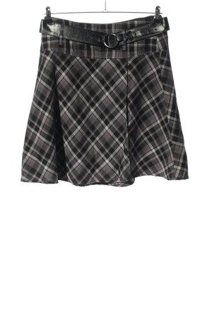 Zero Falda de talle alto negro-gris claro estampado a cuadros elegante