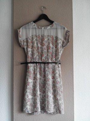 Zero hübsches geblümtes Minikleid mit Gürtel, Grösse S
