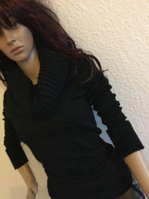 ZERO Kragenpullover Pulli Strickkragen Pullover Bluse Sweatshir S 34-36 schwarz