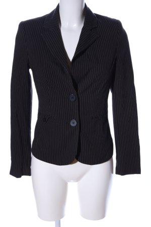 Zero Korte blazer zwart-lichtgrijs gestreept patroon zakelijke stijl