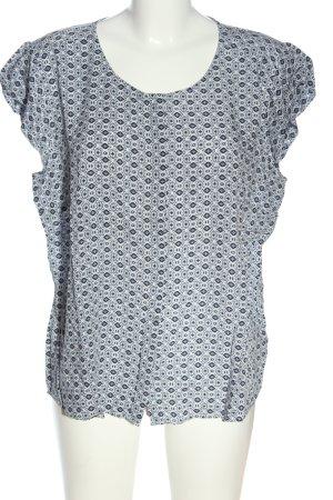 Zero Kurzarm-Bluse weiß-schwarz abstraktes Muster Casual-Look