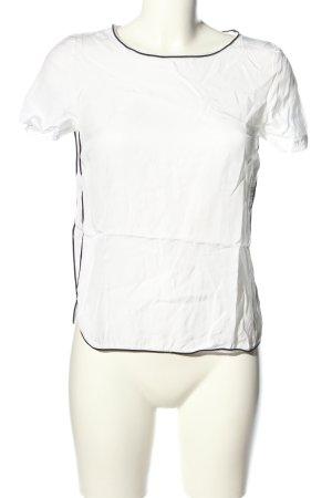Zero Kurzarm-Bluse weiß-schwarz Casual-Look