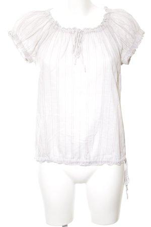 Zero Kurzarm-Bluse weiß-wollweiß Streifenmuster Casual-Look