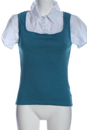 Zero Kurzarm-Bluse weiß-blau Casual-Look