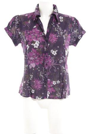 Zero Kurzarmhemd dunkelviolett-violett Blumenmuster extravaganter Stil