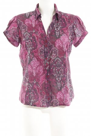 Zero Short Sleeve Shirt magenta-grey lilac floral pattern extravagant style