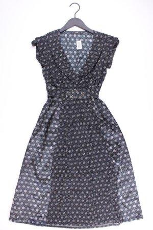 Zero Kurzarmkleid Größe 34 geometrisches Muster mit Gürtel grau aus Polyester