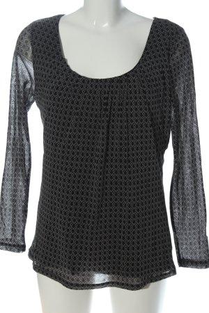 Zero Langarm-Bluse schwarz-weiß Allover-Druck Casual-Look