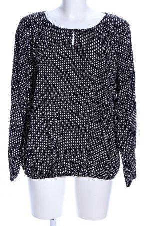 Zero Langarm-Bluse schwarz-weiß grafisches Muster Casual-Look