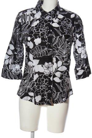 Zero Langarmhemd schwarz-weiß Blumenmuster Casual-Look