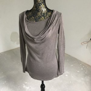 Zero Cowl-Neck Shirt grey brown