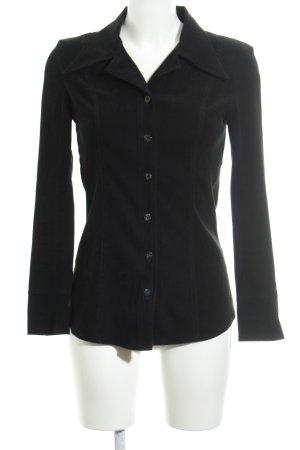 Zero Blusa de cuero negro estilo clásico