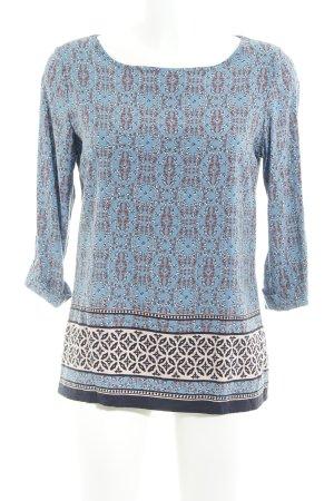Zero Long-Bluse kornblumenblau florales Muster extravaganter Stil
