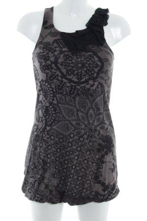 Zero Longtop schwarz-graubraun abstraktes Muster Casual-Look