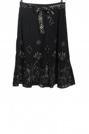 Zero Spódnica midi czarny-jasnoszary Graficzny wzór W stylu biznesowym