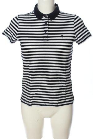 Zero Polo-Shirt schwarz-weiß Streifenmuster Casual-Look