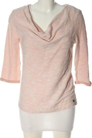 Zero Maglione twin set rosa-bianco sporco puntinato stile casual