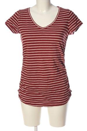 Zero Camisa de rayas rojo-blanco estampado a rayas look casual