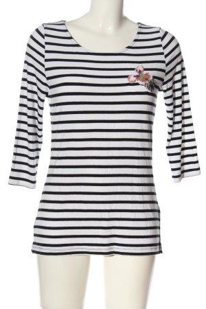 Zero T-shirt rayé noir-blanc imprimé allover style décontracté