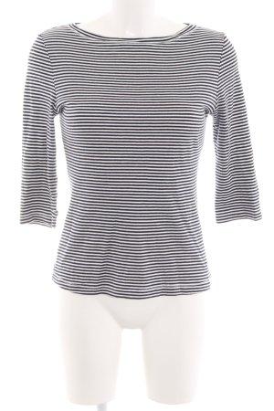 Zero Ringelshirt hellgrau-schwarz Streifenmuster Casual-Look