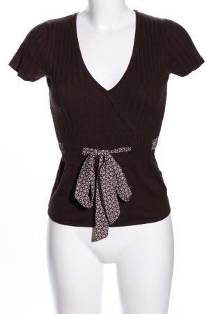 Zero Geribd shirt bruin-wolwit grafisch patroon casual uitstraling