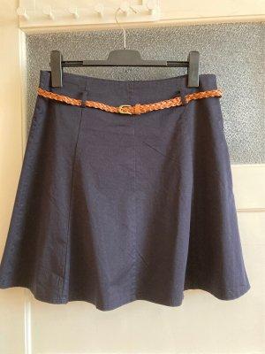 Zero Spódnica midi ciemnoniebieski Bawełna