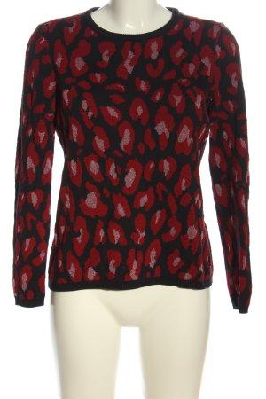 Zero Rundhalspullover schwarz-rot abstraktes Muster Casual-Look