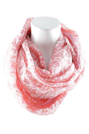 Zero Bufanda tubo blanco-rojo claro estampado con diseño abstracto look casual