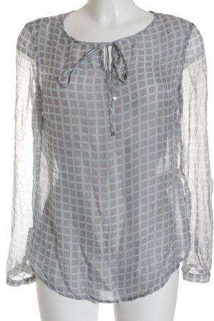Zero Blusa in seta motivo a quadri look trasparente