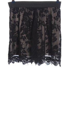 Zero Falda de encaje marrón-negro look casual