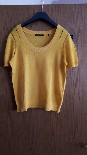 Zero Koszulka z dzianiny piaskowy brąz-złotopomarańczowy
