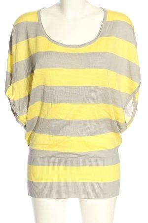 Zero Strickshirt blassgelb-hellgrau Streifenmuster Casual-Look
