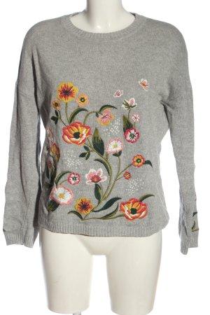 Zero Sweatshirt gris clair-kaki motif de fleur style décontracté