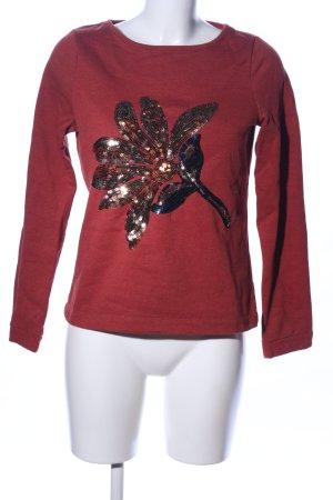 Zero Sweatshirt rot Motivdruck Casual-Look