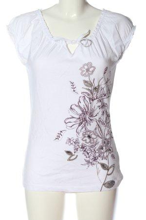 Zero Camiseta blanco-rosa estampado floral look casual