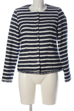 Zero Tweed blazer blauw-wit gestreept patroon casual uitstraling