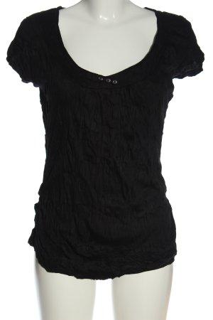 Zero Camisa de cuello barco negro look casual
