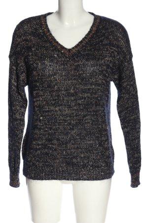 Zero V-Ausschnitt-Pullover schwarz-hellgrau meliert Casual-Look