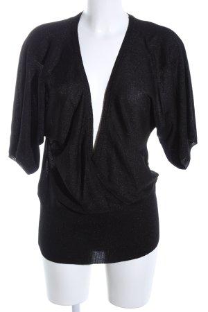 Zero V-Ausschnitt-Pullover schwarz-silberfarben meliert Casual-Look