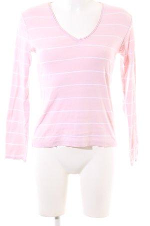 Zero V-Ausschnitt-Shirt pink-weiß Streifenmuster Casual-Look