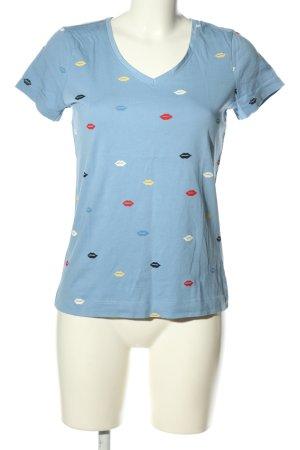 Zero V-Ausschnitt-Shirt blau Allover-Druck Casual-Look