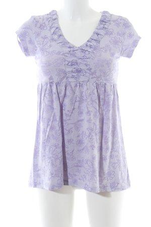 Zero V-Ausschnitt-Shirt lila Allover-Druck Casual-Look