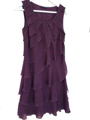 Zero Sukienka z falbanami głęboka czerwień-bordo