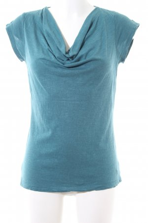 Zero Cowl-Neck Shirt turquoise flecked casual look