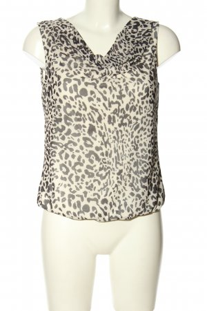 Zero Cowl-Neck Top natural white-black allover print business style